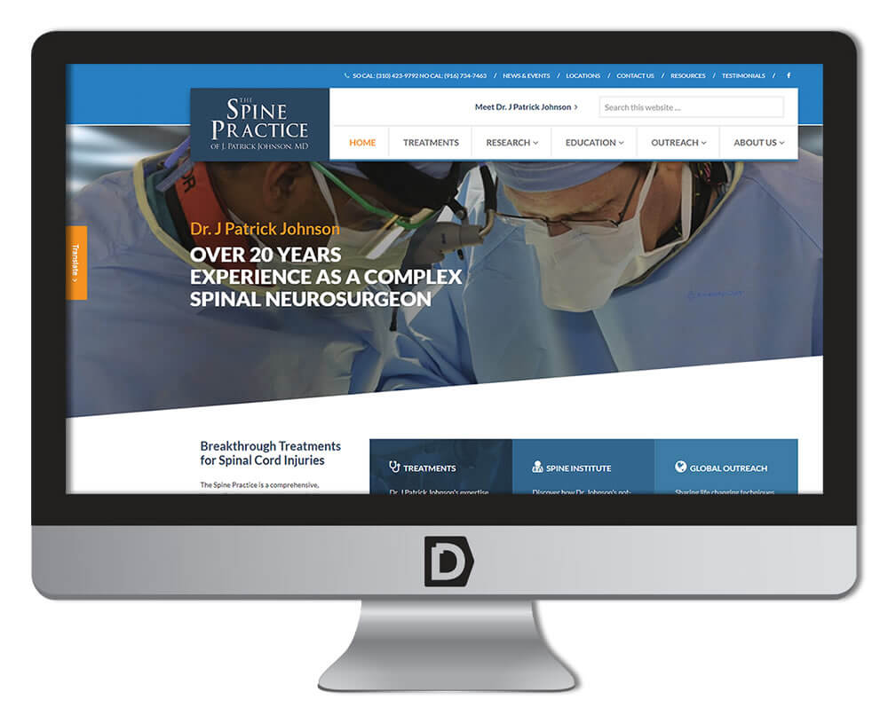 Image of new Spine Practice website.