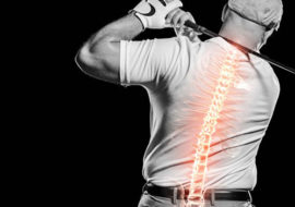 Image of golfer playing with overlay illustration of spine.