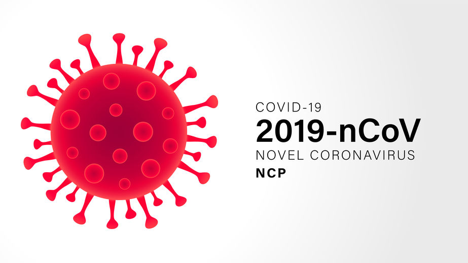 Illustration of virus with text that reads COVID-19 2019-nCoV Novel Coronavirus NCP
