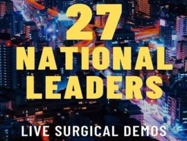 Graphic of Seattle skyline with embedded text that reads, 27 National Leaders, Live Surgical Demos.