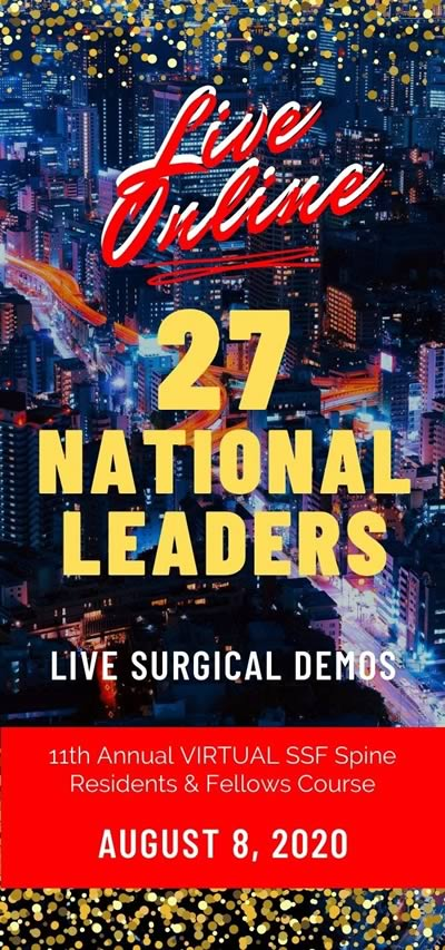 Graphic of Seattle skyline with embedded text that reads Live Online, 27 National Leaders, Live Surgical Demos, 11th Annual VIRTUAL SSF Spine Residents & Fellows Course. August 8, 2020.